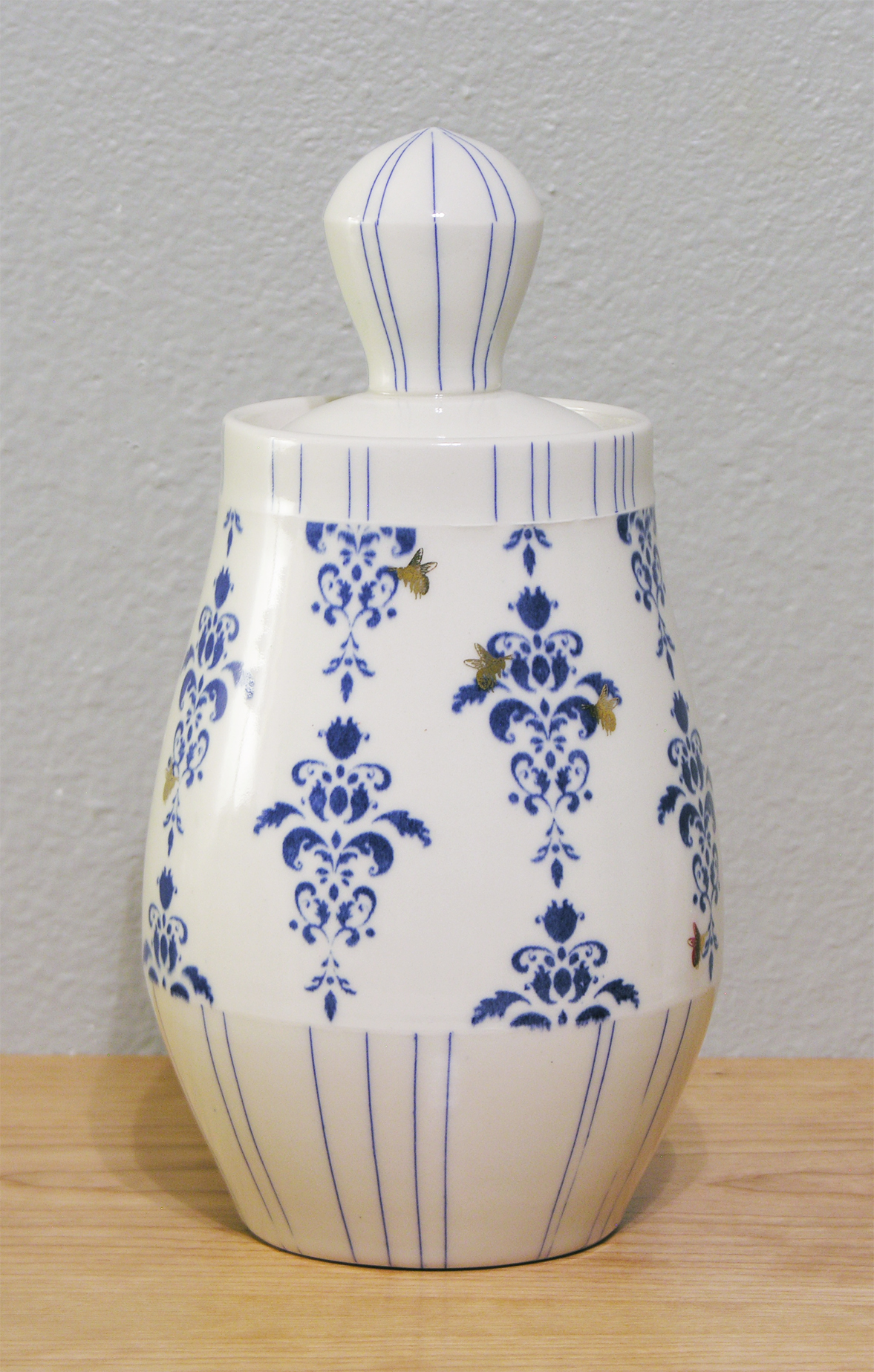 Cone 7 wheel thrown porcelain with custom underglaze and gold decals